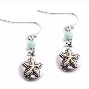 Silver toned Starfish Coin Earrings